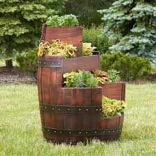 reclaimed three tier barrel planter wine enthusiast