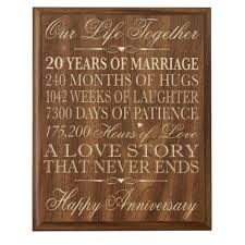 20th wedding anniversary ideas 20th wedding anniversary wall plaque gifts for