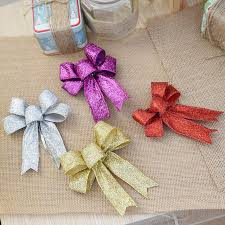 12cm large gold silver purple glitter cloth bow