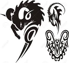 the ram and mountain goat tribal clipart vector illustration