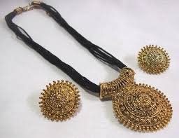 big pendant necklace images Buy big pendant black thread mangalsutra necklace set online jpg