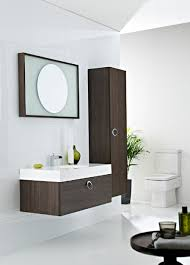 gray wall paint dark brown storage drawers mirror with frame