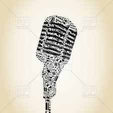 microphone made of musical notes vector clipart image 80280