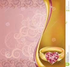 Blank Wedding Invitation Card Stock Wedding Invitation Card With Ruby Heart Ring Stock Photo Image