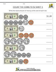 2nd grade math worksheets count the coins to 2 dollars 1 delanye