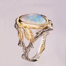 opal rings unique images Twig and leaf engagement ring opal engagement ring unique etsy jpg