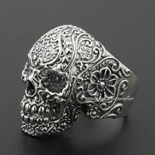 silver rings skull images Linsion solid 925 sterling silver skull ring mens biker rock punk jpg