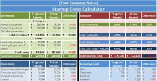 Excel Costing Template Startup Costs Calculator Excel Template Exceldatapro