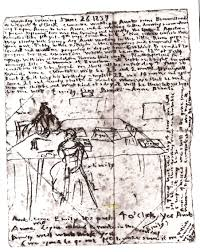 file sketch by emily brontë sgowing herself and anne at work in