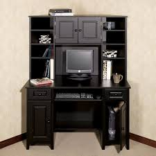 Black L Shaped Desk With Hutch Furniture Black Painted Wooden Corner I Shape Computer Desk With