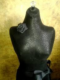 Decorative Dress Form Jewelry Display Stand Black Leatherette