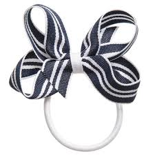 navy blue and white striped ribbon ribbons navy blue white striped ribbon bow hair elastic
