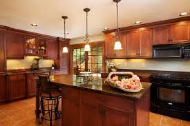 Wooden Kitchen Interior Design Exciting Wooden Kitchen Designs With Three Funnel Pendant And