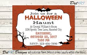 halloween haunt party invitation bats and spooky tree teen