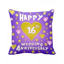 16th wedding anniversary gifts 16th wedding anniversary gift printed cushion with filler