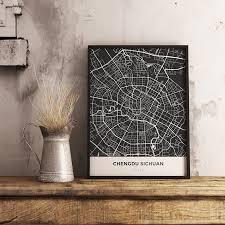 Travel Decor Premium Map Poster Of Chengdu Sichuan Map Art U0026 Travel Decor