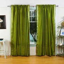 India Curtains Indian Selections Olive Green Rod Pocket Sheer Sari Curtain