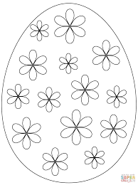 easter egg with flowers coloring page free printable coloring pages
