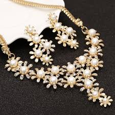 gold pearl necklace sets images Gold color flowers simulated pearl jewelry sets full crystals stud jpg