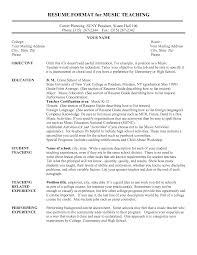 Sample Of Resume For Teachers Resume Example For Music Teacher Templates