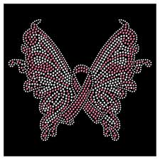 butterfly breast cancer ribbon iron on hotfix transfer bay