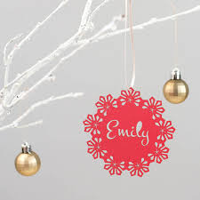 personalised snowflake christmas tree decoration by paper stanyon