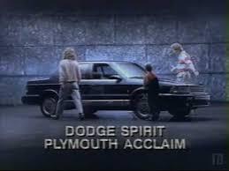 Dodge Spirit Plymouth Acclaim Chrysler 1990 Dodge Spirit Plymouth Acclaim Commercial Youtube