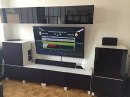 Wall Mount Besta Tv Bench Home Theater Media Center Besta Hack Ikea Hackers Ikea Hackers