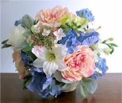 wedding flowers blue silk bridal bouquet blush pink light blue green and ivory