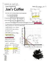linear programming fred u0026 joe u0027s coffee shop by derek olson tpt