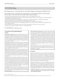 key elements in a framework for land use impact assessment within