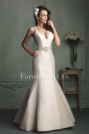 white v neck satin beaded long mermaid wedding dress