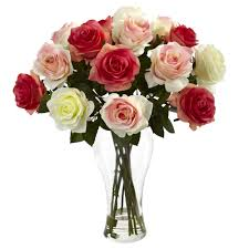 assorted blooming roses w vase nearly natural