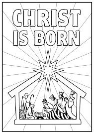nativity scene colouring pages funycoloring