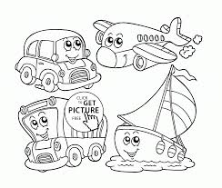 cute cartoon transportation coloring page for preschoolers