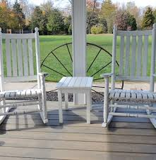 White Slat Rocking Chair by Pair Of White Wooden Slat Outdoor Rocking Chairs Ebth Home