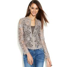 inc clothing lyst inc international concepts fauxleathertrim lace jacket in gray