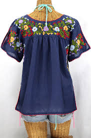 navy blue blouse la lijera embroidered peasant blouse style navy