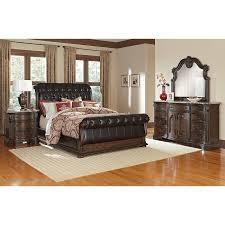 Sleigh Bedroom Furniture Monticello 6 Upholstered Sleigh Bedroom Set Pecan