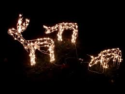box opening 3 piece lighted deer family outside christmas