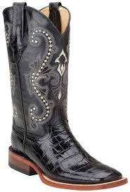 womens black cowboy boots size 9 ferrini s gator print 12 square toe cowboy boots black