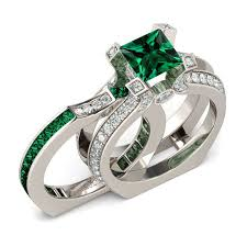 Womens Wedding Ring Sets by Jeulia Two In One Princess Cut Created Emerald Wedding Set 3 6ct