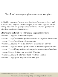 software engineer resume objective statement top 8 software qa engineer resume samples