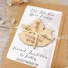 Rustic Save The Dates Leaf Save The Date Custom Save The Date Engraved Save The Date