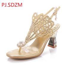 Rhinestone Sandal Heels Pj Sdzm 2017 Summer New Design Women Rhinestone Sandals High