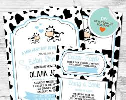 baby moo moo cow farm theme baby shower invitations pink