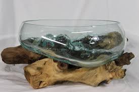 hand blown molten glass u0026 teak wood terrarium fish bowl vase