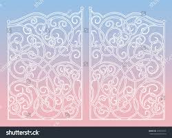 beautiful iron ornament gates on 2016 stock vector 493818733