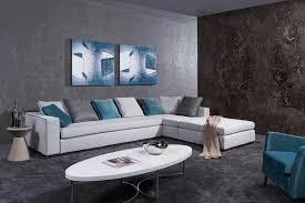 Divani Casa Whitley Modern Grey Fabric Sectional Sofa W Ottoman - Modern miami furniture