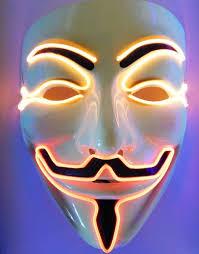 v for vendetta mask light up led fawkes v for vendetta mask single color orange